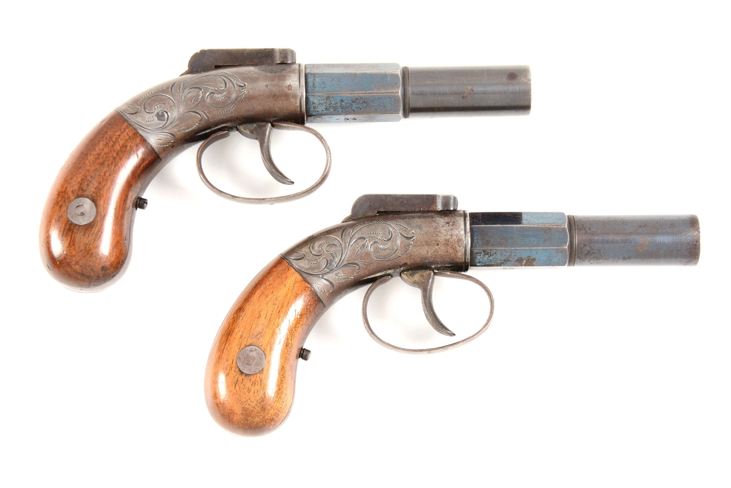 (A) CONSECUTIVE PAIR OF ALLEN AND THURBER SINGLE SHOT PERCUSSION BAR HAMMER PISTOLS.