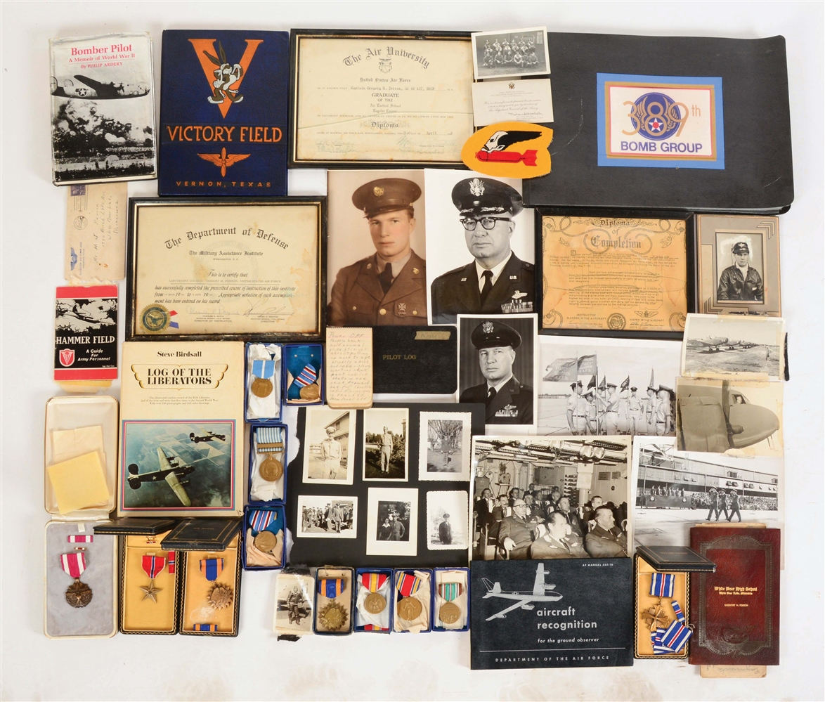 LARGE LOT OF WORLD WAR II MEDALS AND EPHEMERA RELATING TO CAPT. GREGORY H. PERRON 9TH AIR FORCE.