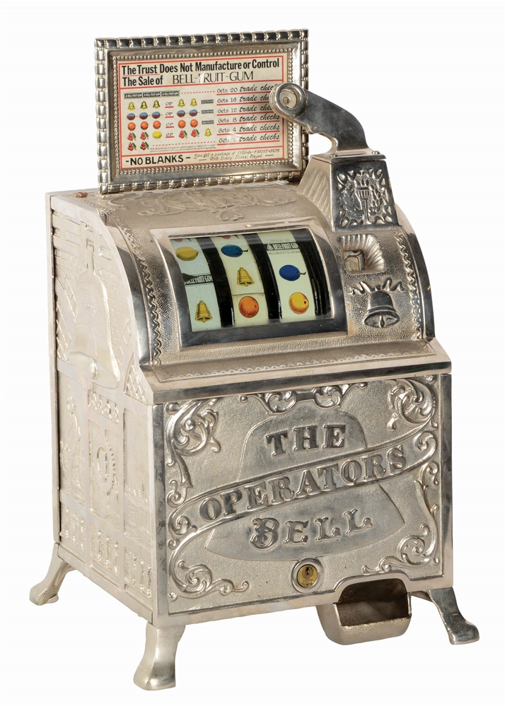 "5¢ MILLS ""THE OPERATORS BELL"" BELL FRUIT GUM SLOT MACHINE."