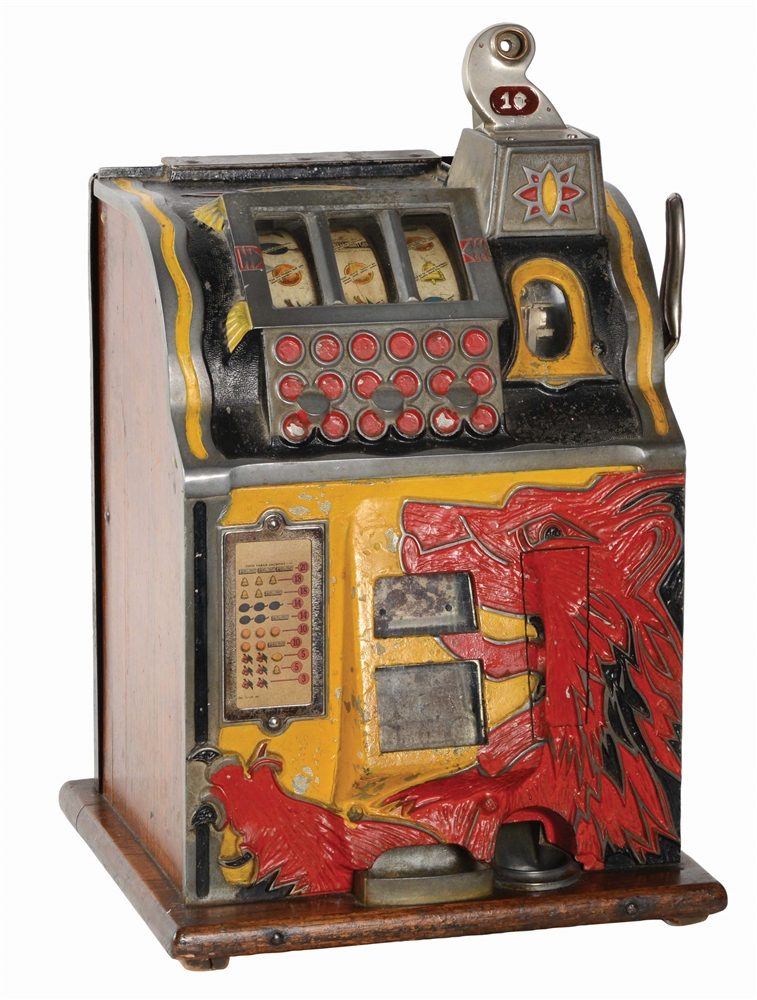1¢ MILLS BELL FRUIT LION FRONT SLOT MACHINE.