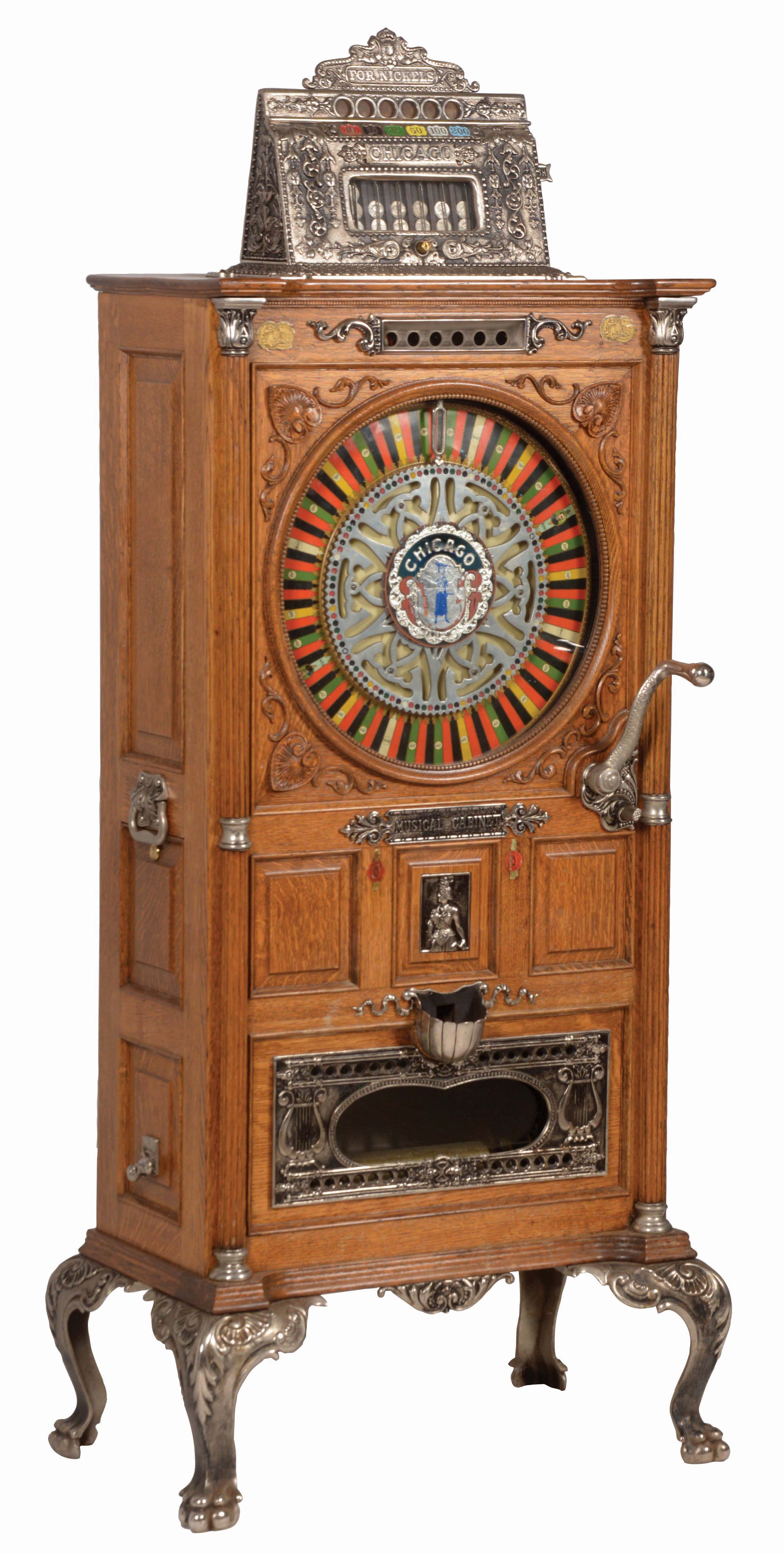 5¢ MILLS CHICAGO MUSICAL CABINET UPRIGHT SLOT MACHINE.