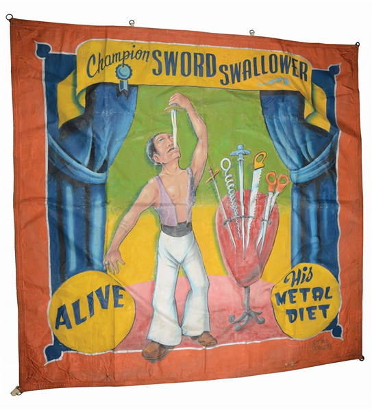"JOHNNY MEAH ""CHAMPION SWORD SWALLOWER"" CIRCUS BANNER."