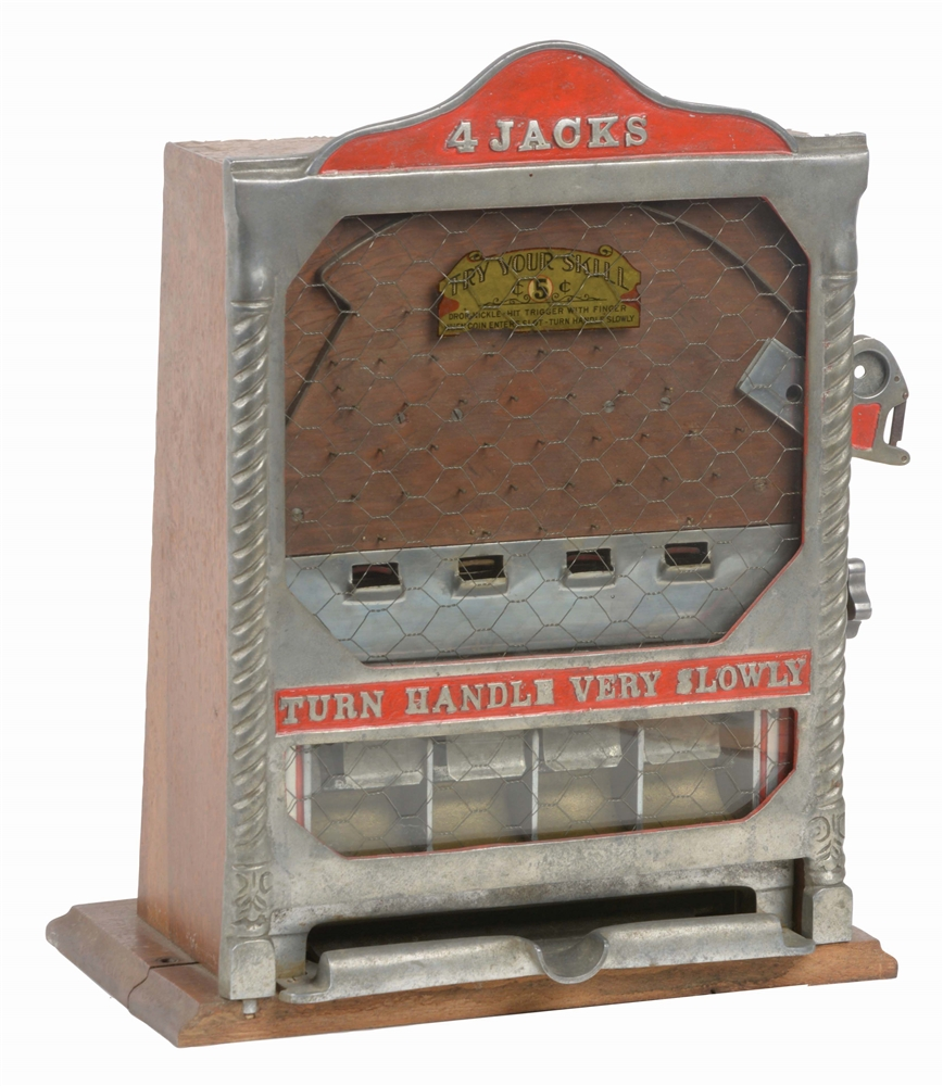 5¢ FIELDS MFG. FOUR JACKS COUNTER POCKET TRADE STIMULATOR.