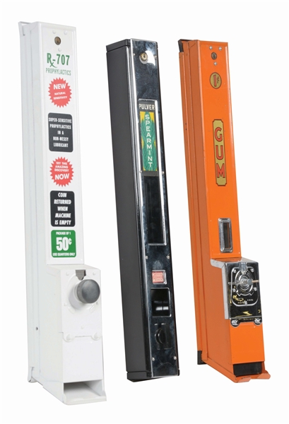 LOT OF 3: GUM, PULVER AND CONDOM VENDING MACHINES.