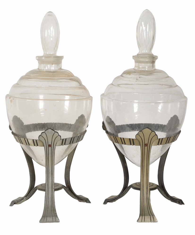 LOT OF 2: APOTHECARY SHOW JARS WITH STANDS.