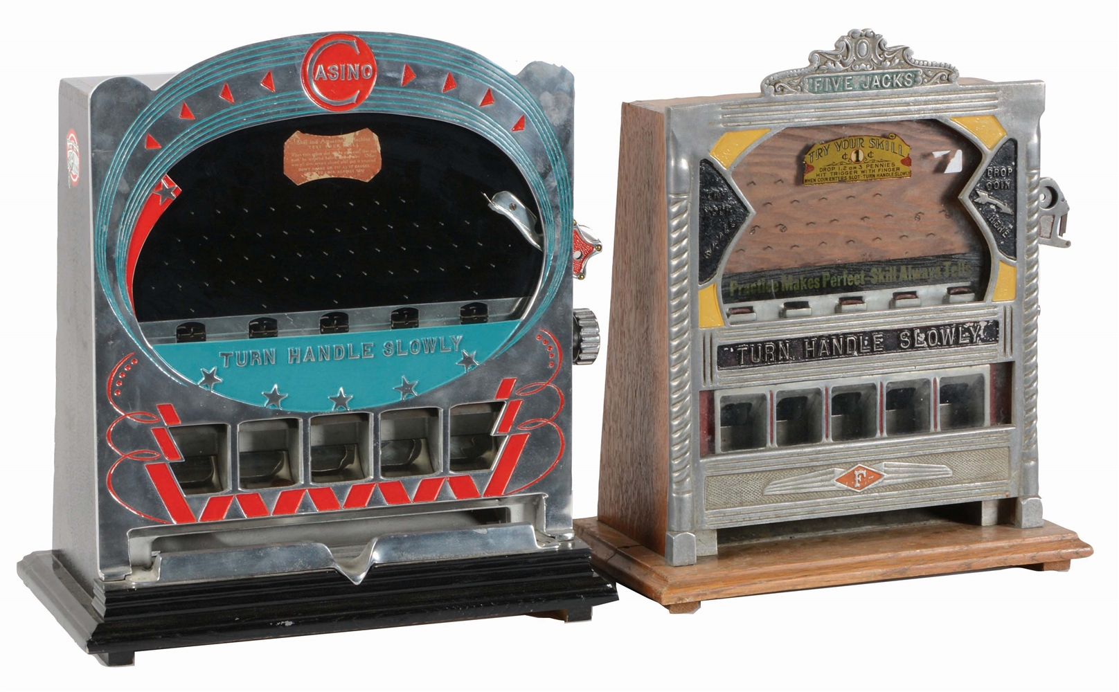 LOT OF 2: 1¢ A.B.T. CASINO COUNTER POCKET TRADE STIMULATOR AND 1¢ FIELD MFG. FIVE JACKS COUNTER POCKET TRADE STIMULATOR.