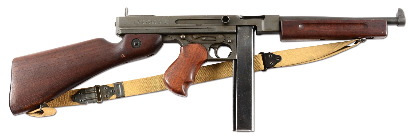 (N) ATTRACTIVE ARSENAL REFINISHED RARE M1 MODEL THOMPSON MACHINE GUN FROM WORLD WAR II ERA (CURIO AND RELIC).