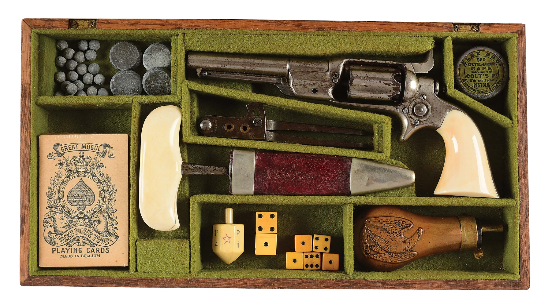 "(A) CASED NICKEL COLT ROOT PERCUSSION REVOLVER IN ""GAMBLERS SET"" WITH PUSH DAGGER & ACCESSORIES."