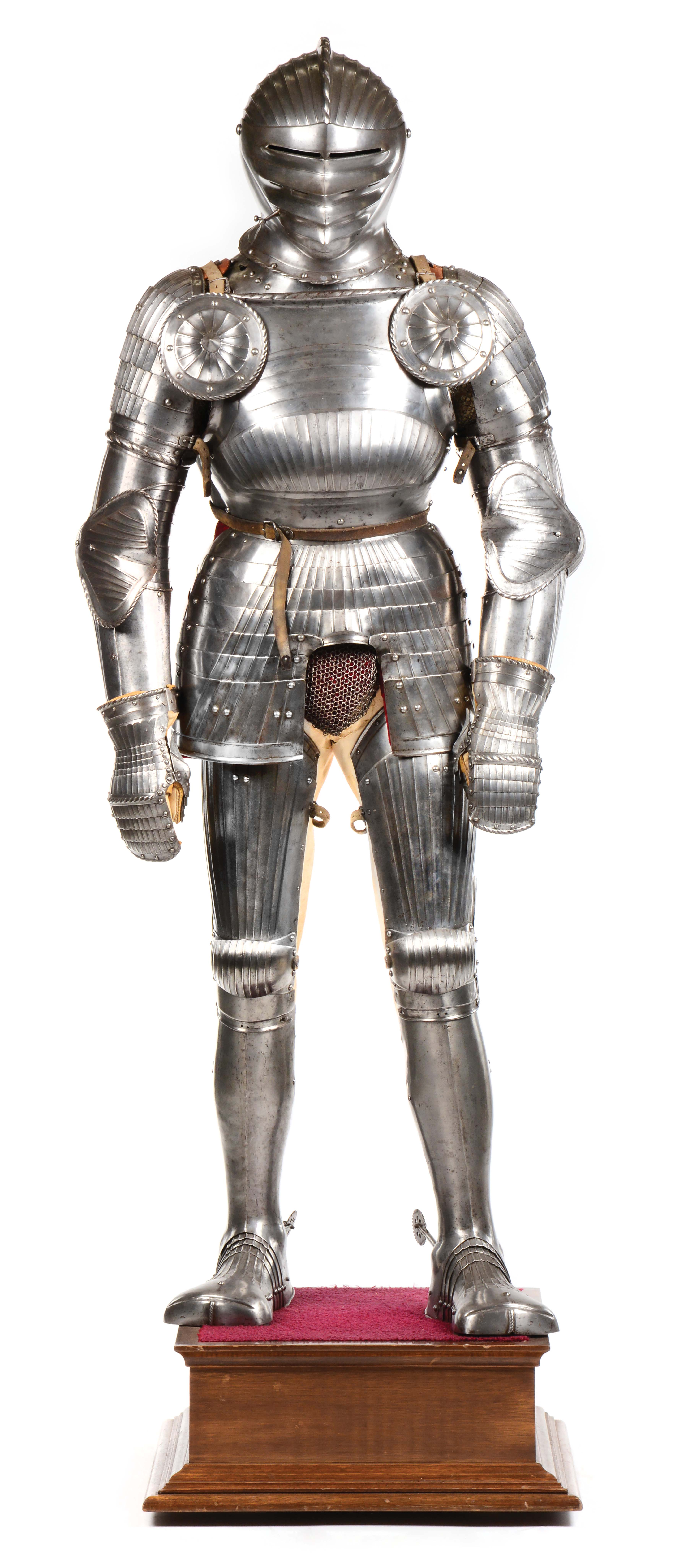 FINE AND RARE WELL-MOUNTED COMPOSITE MAXIMILIAN SUIT OF ARMOR.