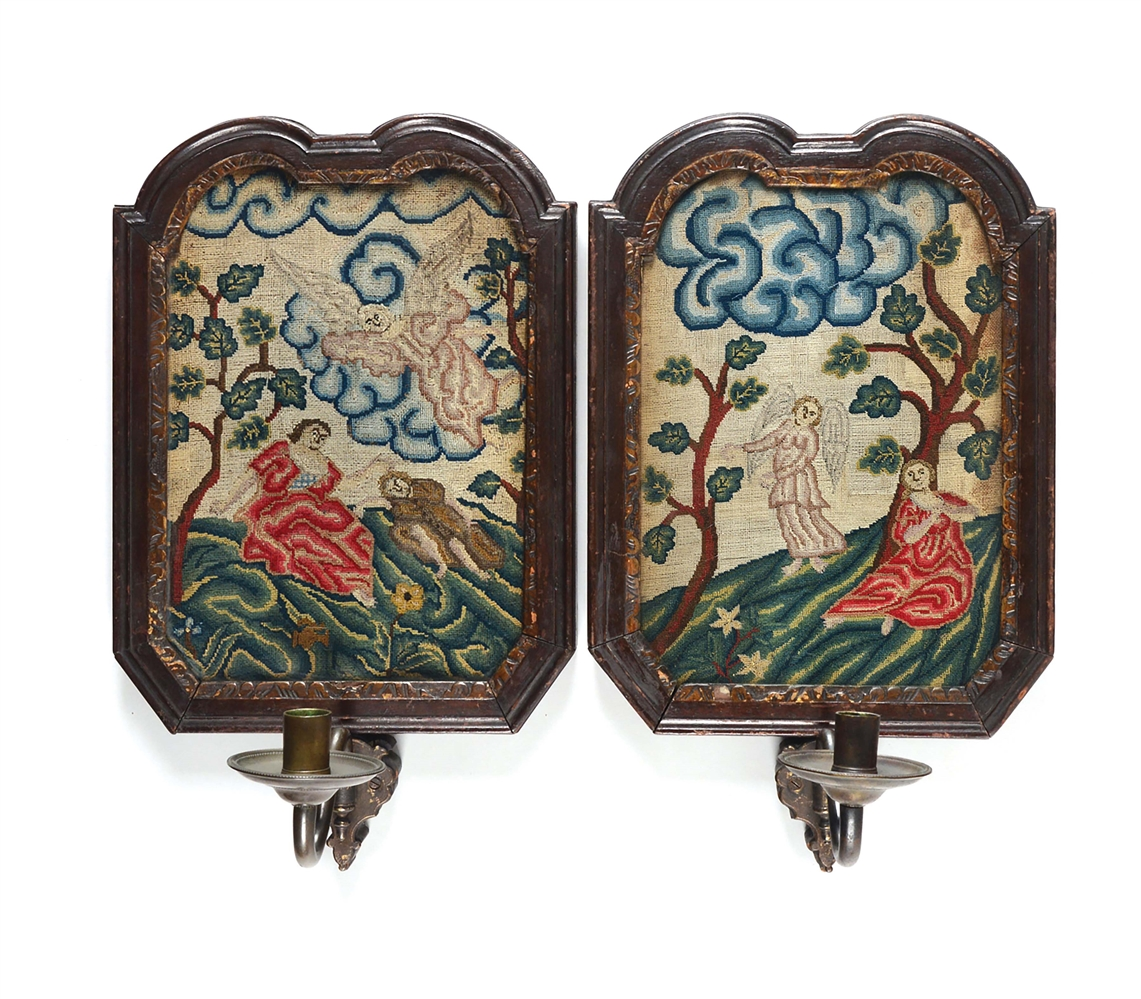 PAIR OF ENGLISH WOOLWORK SCONCES. ENGLISH. CIRCA 1770.
