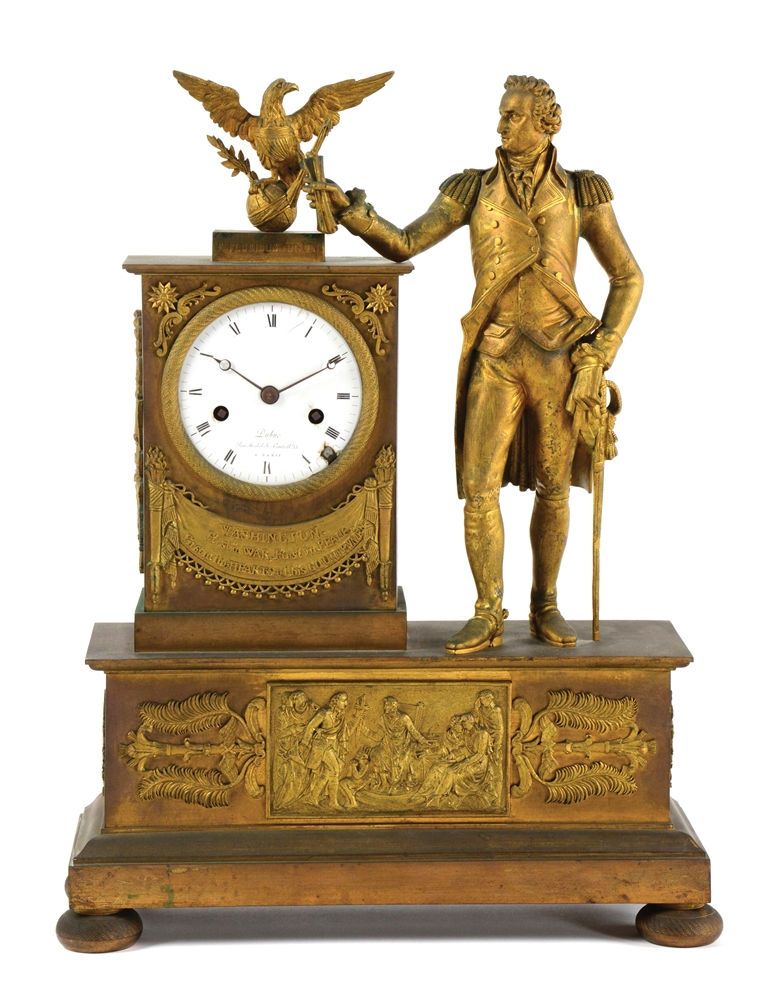 EXTREMELY RARE AND IMPORTANT NEOCLASSICAL BRASS AND ORMOLU MOUNTED MANTEL CLOCK, MADE FOR THE AMERICAN MARKET. DUBUC. PARIS. CIRCA 1810.