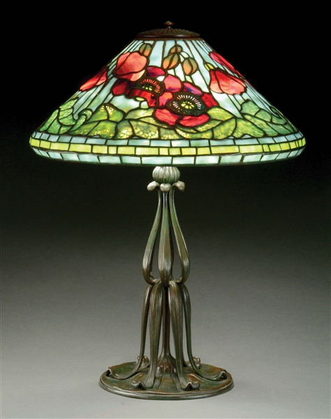 TIFFANY STUDIOS POPPY TABLE LAMP.