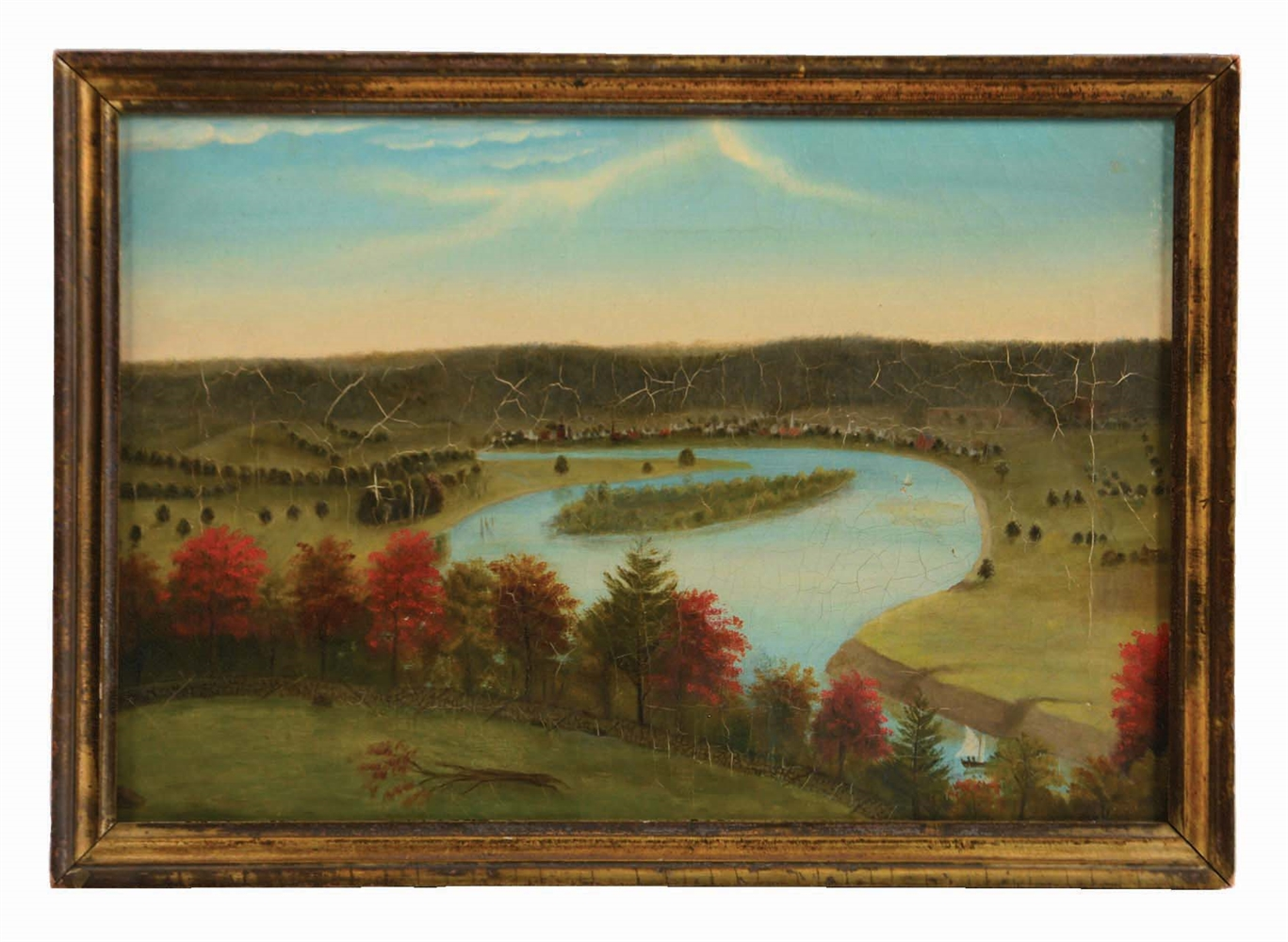 HUDSON VALLEY SCHOOL (MID 19TH CENTURY) VIEW FROM BOSCOBEL.