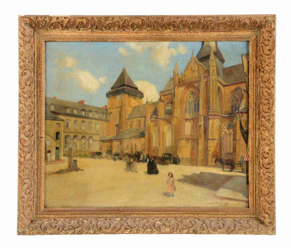 HUGHES DE BEAUMONT (FRENCH, 1874 - 1947) VIEW OF A FRENCH CATHEDRAL AND CHILDREN IN THE SQUARE.