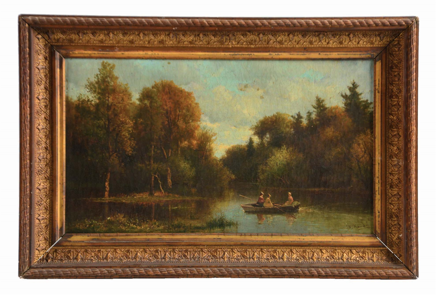 FREDERICK RONDEL SR. (AMERICAN, 1826 - 1892) LADIES ROWING IN A QUIET RIVER LANDSCAPE.