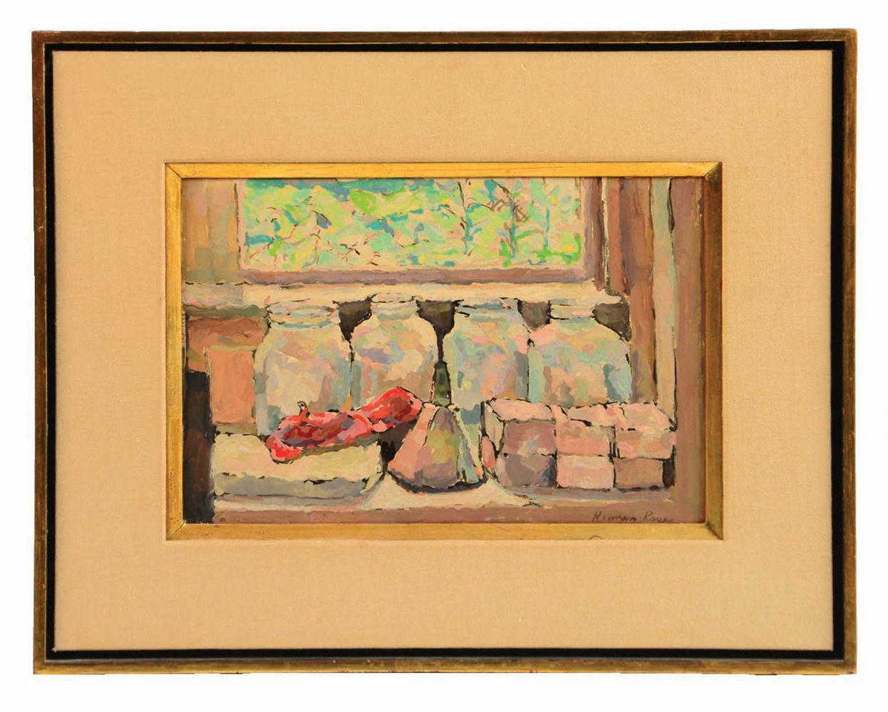 HERMAN ROSE (AMERICAN, 1909 - 2007) STILL LIFE JARS AND WINDOW.