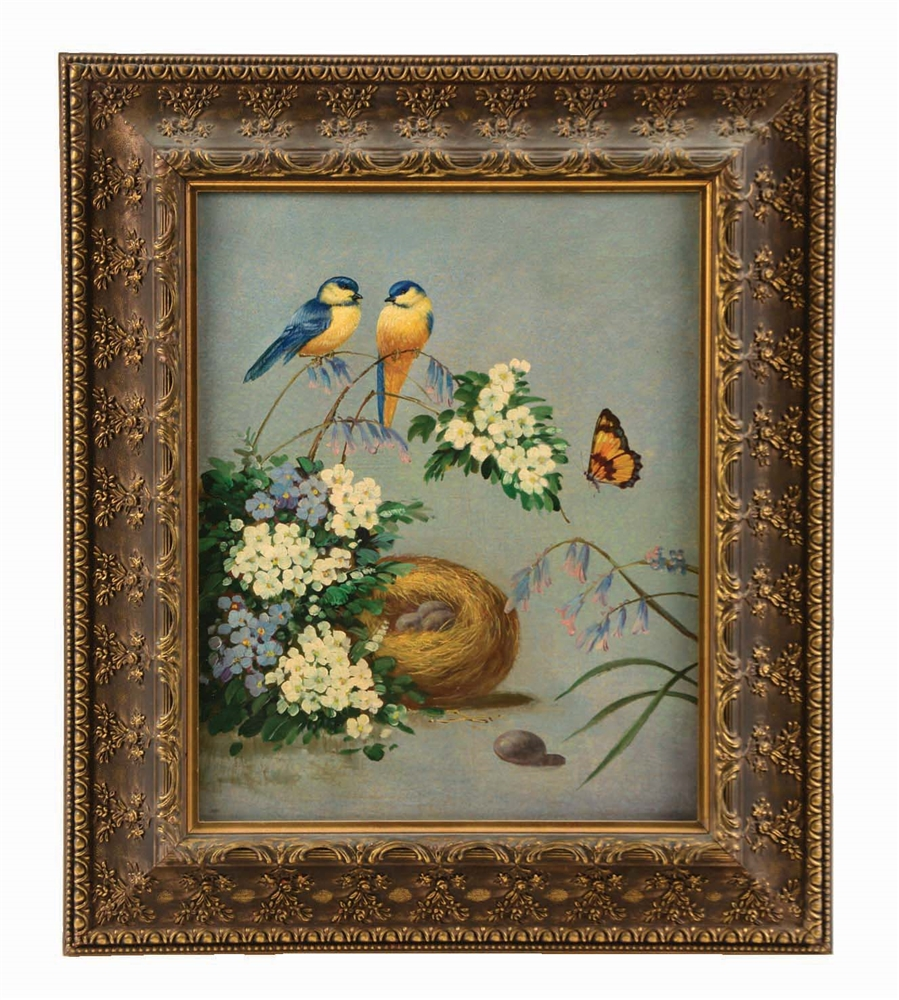 FIDELIA BRIDGES (AMERICAN, 1834 - 1923) STILL LIFE OF GOLD FINCHES WITH NEST.