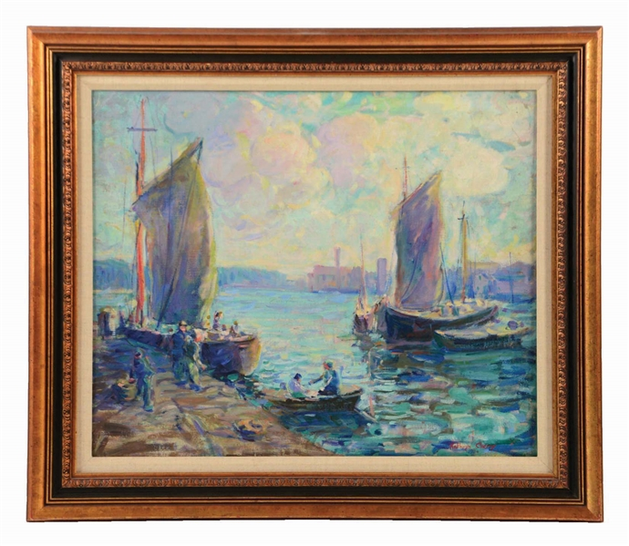 KATHRYN E. BARD CHERRY (AMERICAN, 1860 - 1931) BOATS AT PROVINCETOWN.