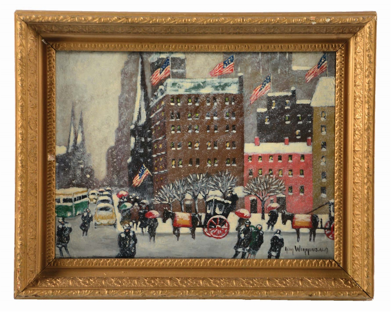 GUY CARLTON WIGGINS (AMERICAN 1883 - 1962) AT THE PLAZA.