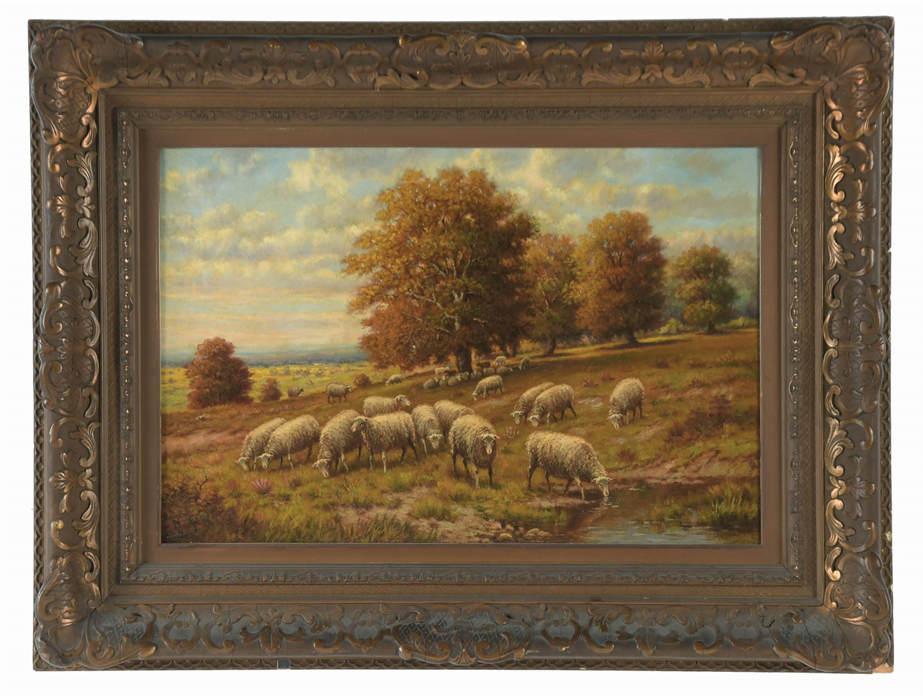 HERMAN ROHDE (AMERICAN, 19TH CENTURY) GRAZING SHEEP IN FALL LANDSCAPE.
