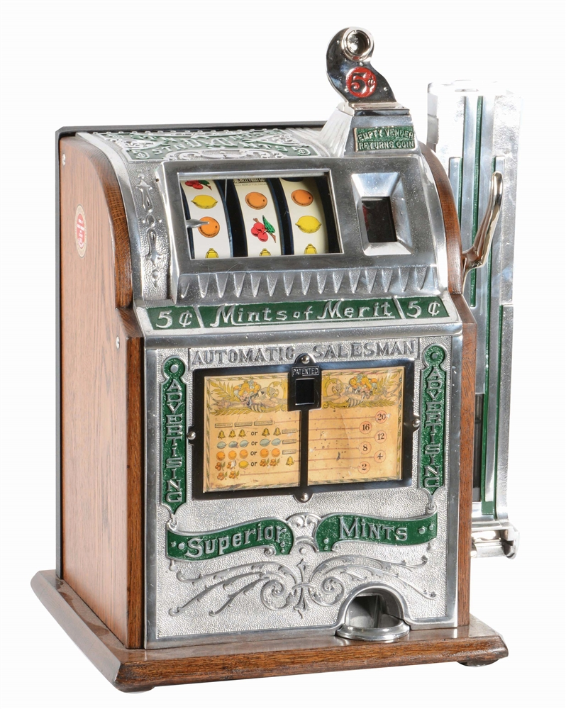 "5¢ SUPERIOR ""MINTS OF MERIT"" SLOT MACHINE."