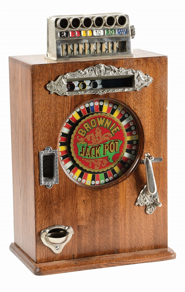 5¢ WALTING BROWNIE JACKPOT COUNTER WHEEL SLOT MACHINE.