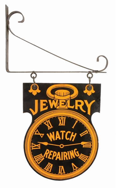 DIE-CUT PORCELAIN DOUBLE-SIDED JEWELRY ADVERTISING SIGN.