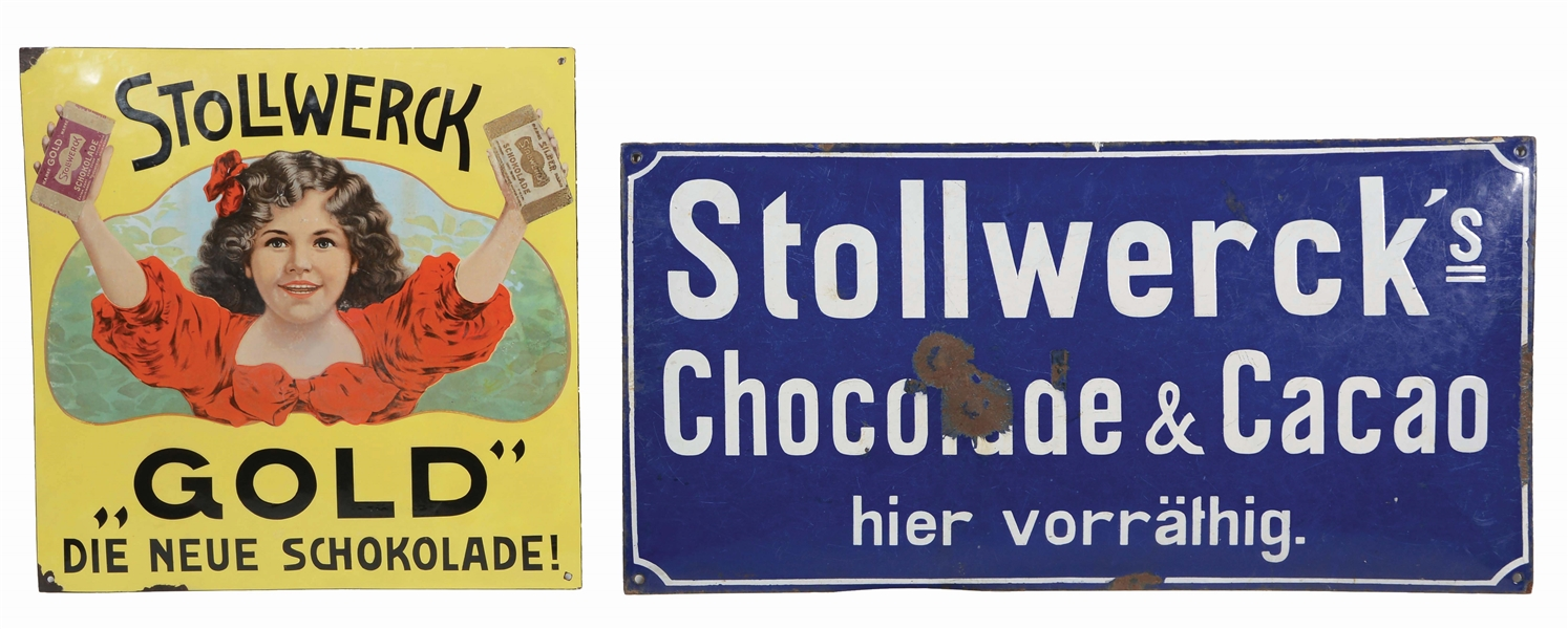 LOT OF 2: STOLLWERCK GOLD & STOLLWERCKS CHOCOLADE & CACAO PORCELAIN SIGNS.