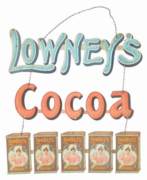 LOWNEYS COCOA THREE-PIECE SIGN.