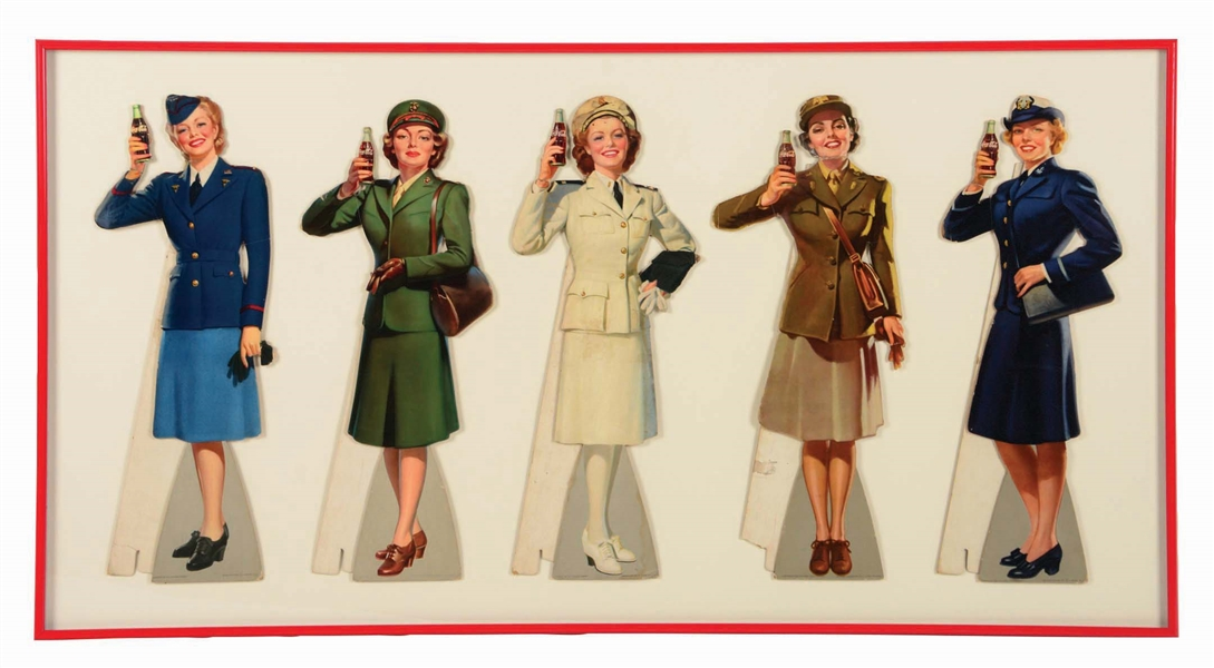 LOT OF 5: 1940S COCA-COLA SERVICE WOMEN DIE-CUT SIGNS.