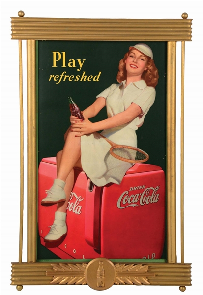 1949 PLAY REFRESHED COCA-COLA ADVERTISING SIGN.