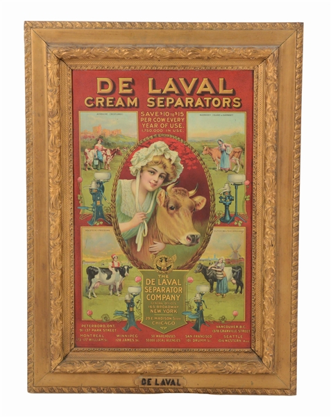 DE LAVAL CREAM SEPARATOR FRAMED TIN SIGN.