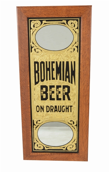 REVERSE PAINTED GOLD LEAF CHIP BOHEMIAN BEER SIGN.