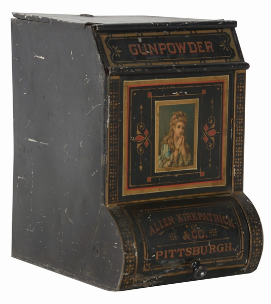 EARLY TOLE PAINTED GUNPOWDER TIN.