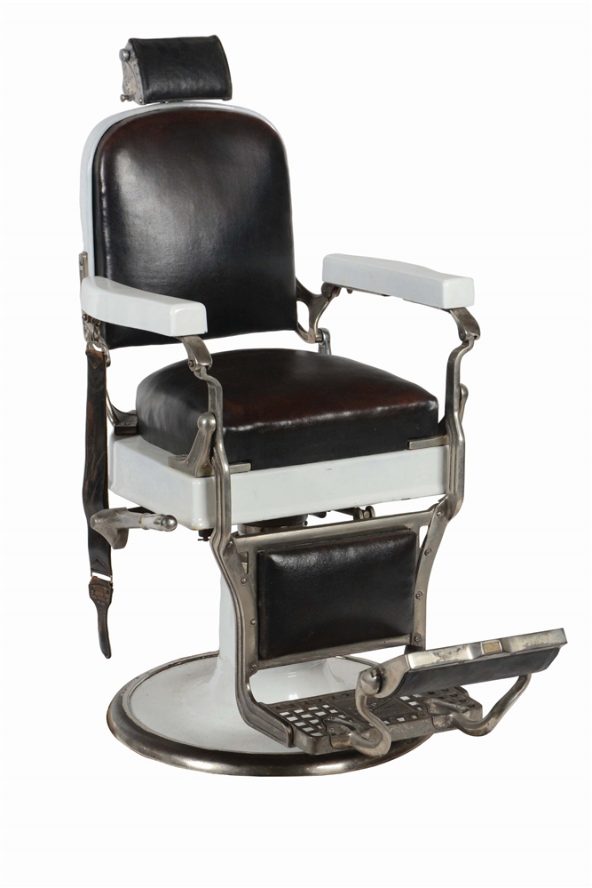 KOKEN PORCELAIN AND LEATHER BARBER CHAIR.
