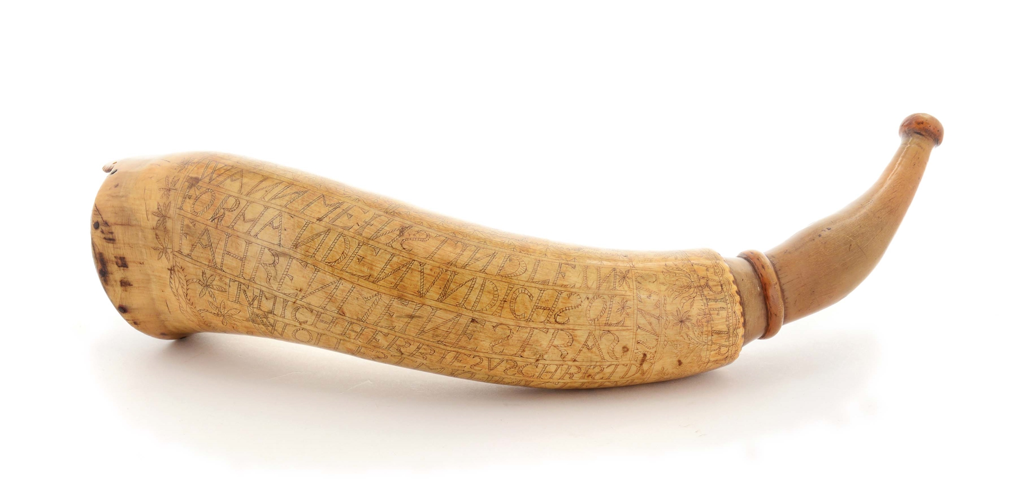 IMPORTANT AND DOCUMENTED ENGRAVED NEW YORK POWDER HORN OF FRIETRICH LEPPERT.
