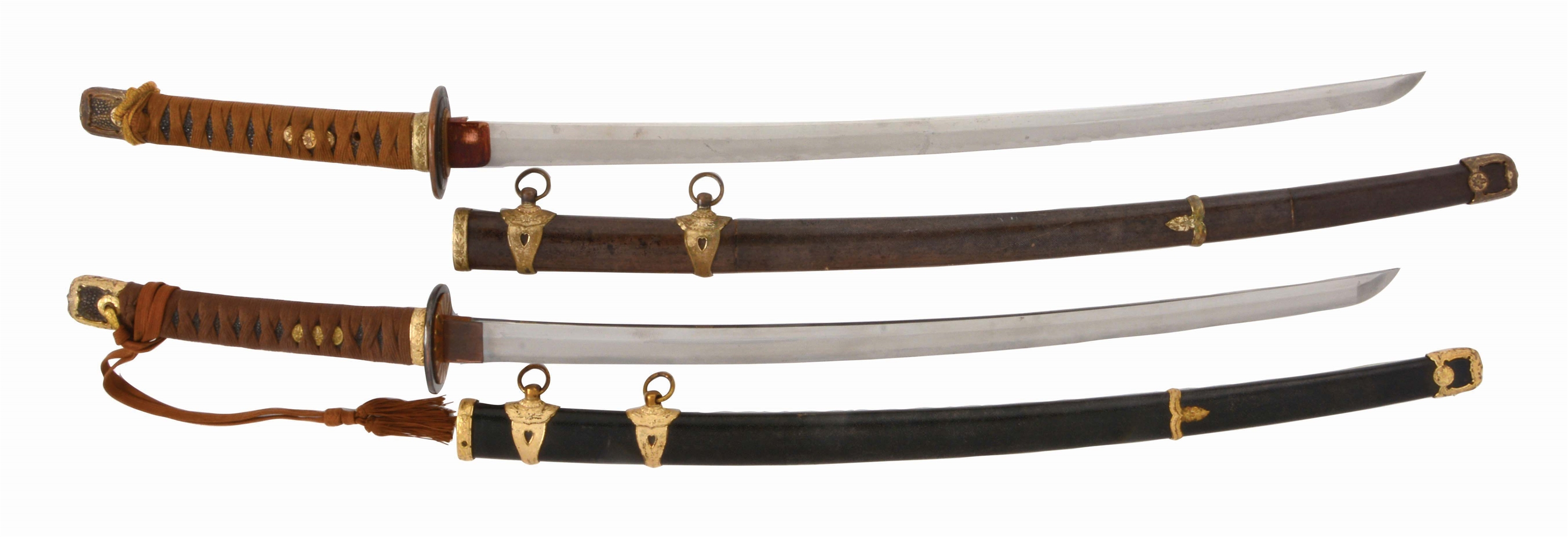 LOT OF TWO: FINE AND VERY ATTRACTIVE JAPANESE WORLD WAR II NAVAL OFFICERS SAMURAI SWORDS.