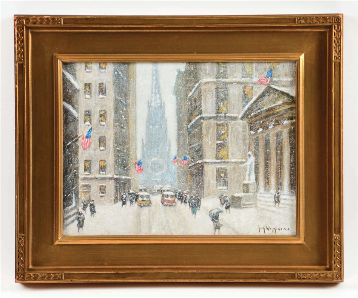 GUY CARLETON WIGGINS (AMERICAN, 1883 - 1962) WALL STREET IN WINTER.