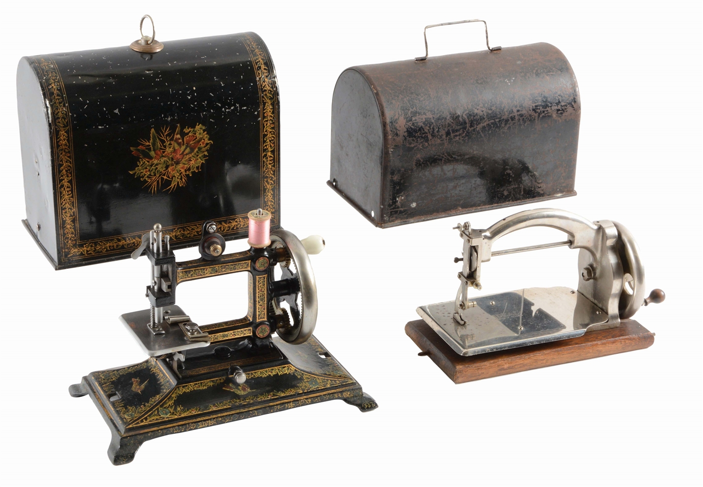 LOT OF 2: SEWING MACHINES WITH COVERS.