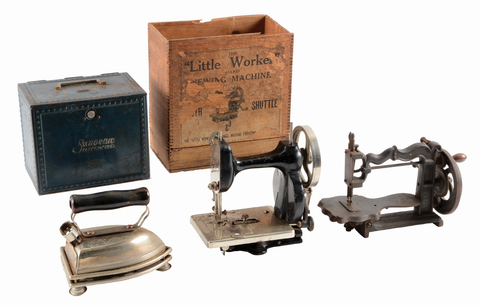 LOT OF 3: SUNBEAM IRON AND 2 SEWING MACHINES.