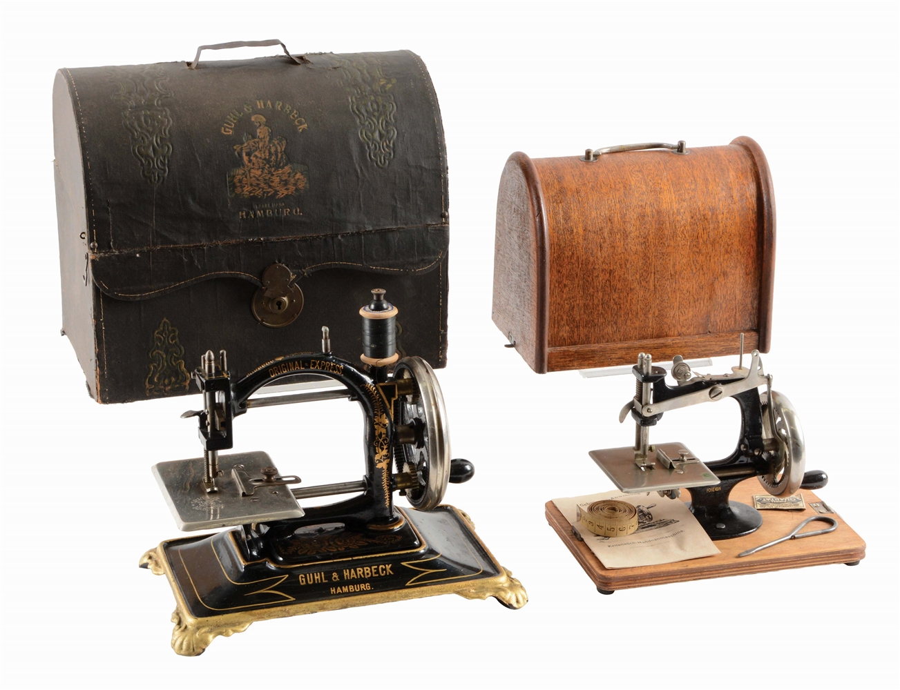 LOT OF 2: SEWING MACHINES BY GUHL AND HARBECK.