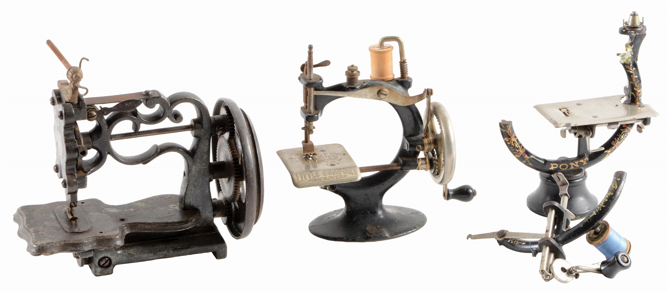 LOT OF 3: SEWING MACHINES BY LITTLE COMFORT.