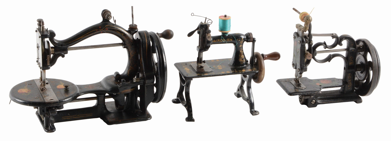 LOT OF 3: SEWING MACHINES BY AMERICAN GEM.