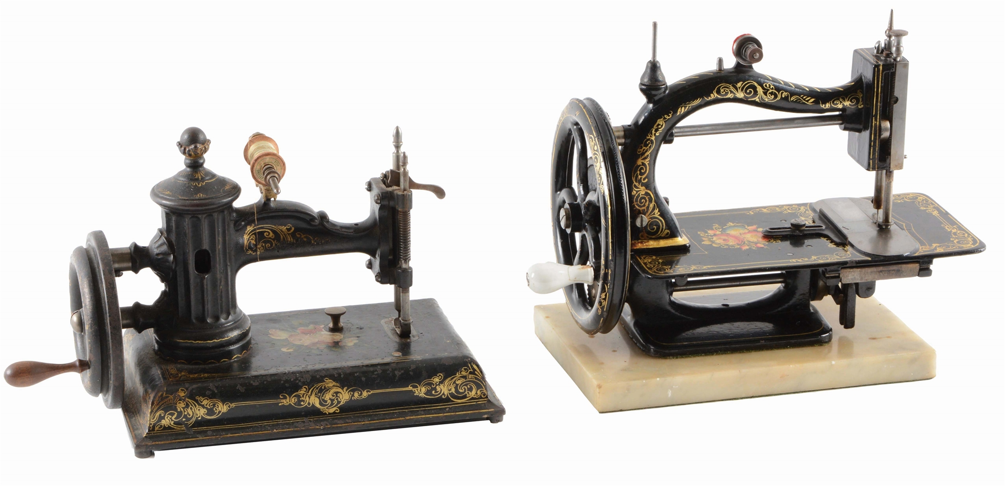 LOT OF 2: SEWING MACHINES, ONE ON MARBLE BASE.