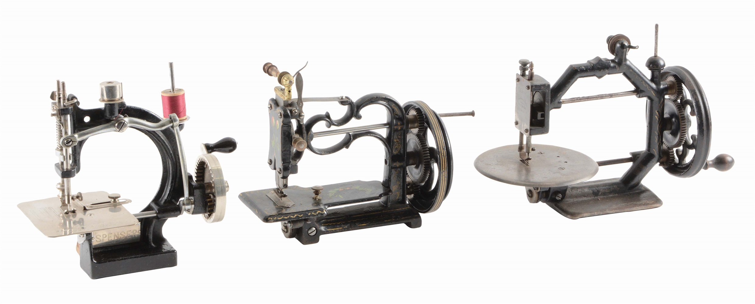 LOT OF 3: SEWING MACHINES, SPENCER WITH PAPERWORK, GOLD METAL.