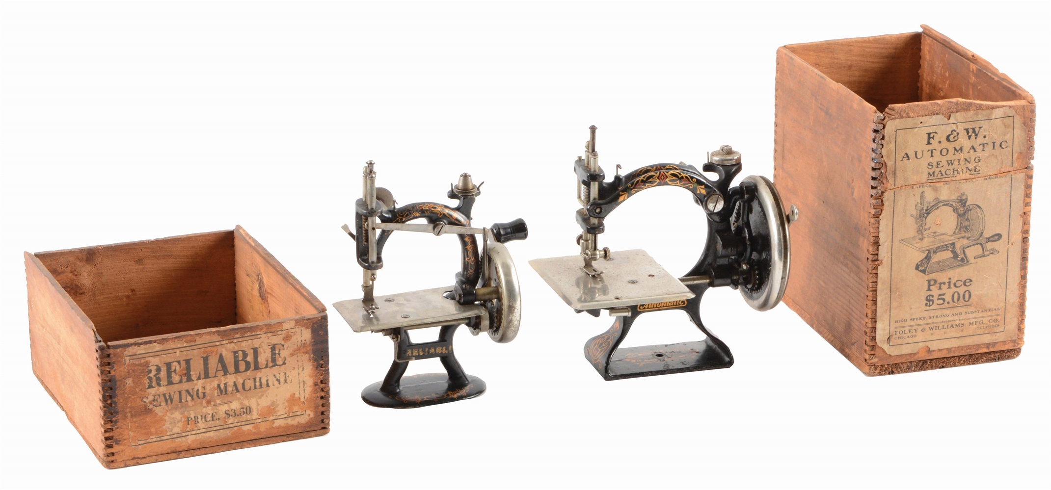 LOT OF 2: RELIABLE AND F & W SEWING MACHINES.