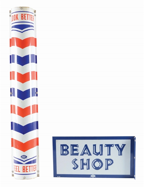 LOT OF 2: BARBER AND BEAUTY SHOP ADVERTISING SIGNS.