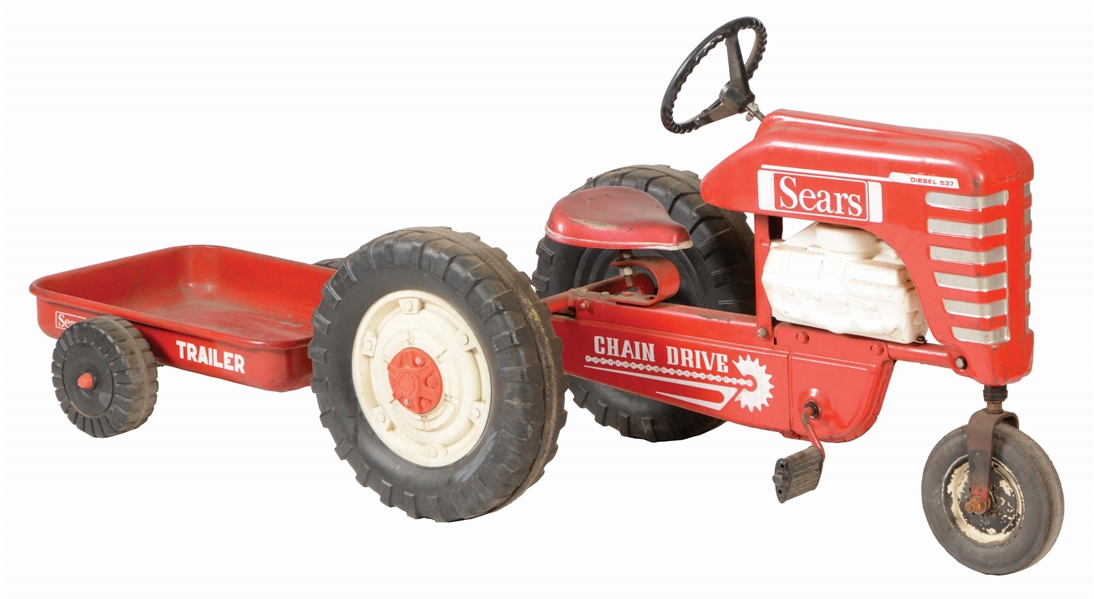 SEARS PEDAL TRACTOR WITH TRAILER.