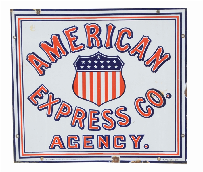 AMERICAN EXPRESS SINGLE-SIDED PORCELAIN ADVERTISING SIGN.