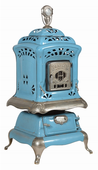 MAGNIFICENT PORCELAIN CAST-IRON WINDSOR PARLOR STOVE.